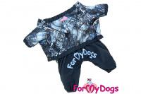 Obleček pro psy malých až středních plemen – lehoučká pláštěnka BLUE DENIM od ForMyDogs. Zapínání na druky na břiše, hladká podšívka.