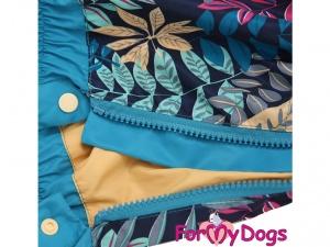 Obleček pro psy středních a větších plemen – pláštěnka BLUE LEAVES, světle modrá (detail podšívky)