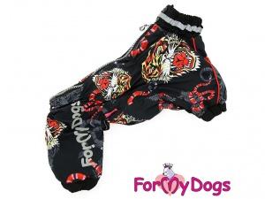 Pláštěnka pro psy od ForMyDogs, černá s potiskem