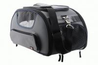 Příruční taška na psy do letadla schválená většinou leteckých společností. Polstrovaný pás pro nošení přes rameno, tvar držící materiál EVO, rozměry 45 × 27 × 25 cm. (4)