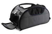 Příruční taška na psy do letadla schválená většinou leteckých společností. Polstrovaný pás pro nošení přes rameno, tvar držící materiál EVO, rozměry 45 × 27 × 25 cm. (8)