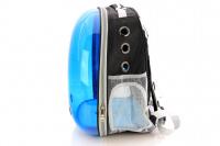 Průhledný batoh na psa do 4 kg NOBLEZA – modrý (3)