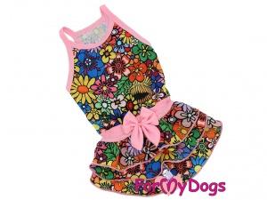Oblečky pro psy – stylové letní bavlněné šaty pro fenky FLOWERS od ForMyDogs