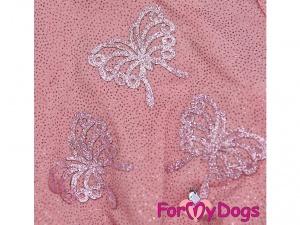 Oblečky pro psy – růžové šaty pro fenky od ForMyDogs z tenké pleteniny s tylovou baletní sukní (detail)