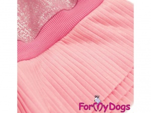 Oblečky pro psy – šaty pro fenky od ForMyDogs – růžové se skládanou sukní (detail)