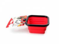 Skládací silikonová miska pro psy na vodu a krmivo. Barvy modrá, červená a oranžová, objem 1 l. (2)