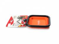 Skládací silikonová miska pro psy na vodu a krmivo. Barvy modrá, červená a oranžová, objem 1 l. (6)