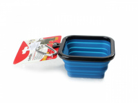 Skládací silikonová miska pro psy na vodu a krmivo. Barvy modrá, červená a oranžová, objem 1 l. (7)