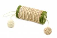 Jednoduché škrabadlo-hračka pro kočky se dvěma chrastícími balonky. Ideální na broušení drápků, materiál sisal, průměr hračky 13 cm. (2)