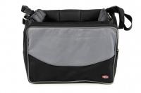 Přepravní box-taška na psa k připevnění na řídítka. Vyztužený rám, měkké polstrování, reflexní prvky, kapsy na zip, možnost přenášení přes rameno. Nosnost 7 kg, rozměry 41 × 26 × 26 cm.