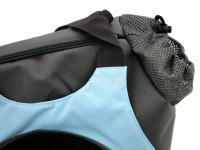 Praktická taška na psa přes rameno vhodná pro štěňata, jorkšíry, čivavy a další malá plemena psů. Nosnost 6 kg, barva šedo-modrá. (10)