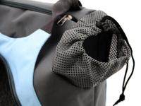 Praktická taška na psa přes rameno vhodná pro štěňata, jorkšíry, čivavy a další malá plemena psů. Nosnost 6 kg, barva šedo-modrá. (11)
