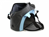 Praktická taška na psa přes rameno vhodná pro štěňata, jorkšíry, čivavy a další malá plemena psů. Nosnost 6 kg, barva šedo-modrá. (12)