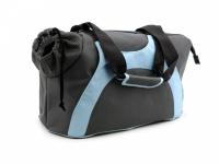 Praktická taška na psa přes rameno vhodná pro štěňata, jorkšíry, čivavy a další malá plemena psů. Nosnost 6 kg, barva šedo-modrá. (2)