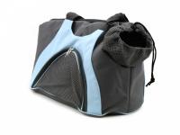 Praktická taška na psa přes rameno vhodná pro štěňata, jorkšíry, čivavy a další malá plemena psů. Nosnost 6 kg, barva šedo-modrá. (3)