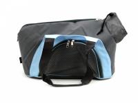 Praktická taška na psa přes rameno vhodná pro štěňata, jorkšíry, čivavy a další malá plemena psů. Nosnost 6 kg, barva šedo-modrá. (4)