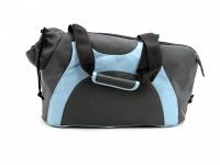 Praktická taška na psa přes rameno vhodná pro štěňata, jorkšíry, čivavy a další malá plemena psů. Nosnost 6 kg, barva šedo-modrá. (5)