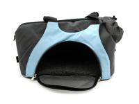 Praktická taška na psa přes rameno vhodná pro štěňata, jorkšíry, čivavy a další malá plemena psů. Nosnost 6 kg, barva šedo-modrá. (6)