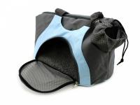 Praktická taška na psa přes rameno vhodná pro štěňata, jorkšíry, čivavy a další malá plemena psů. Nosnost 6 kg, barva šedo-modrá. (7)