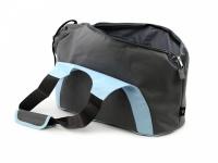 Praktická taška na psa přes rameno vhodná pro štěňata, jorkšíry, čivavy a další malá plemena psů. Nosnost 6 kg, barva šedo-modrá. (8)