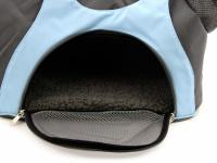 Praktická taška na psa přes rameno vhodná pro štěňata, jorkšíry, čivavy a další malá plemena psů. Nosnost 6 kg, barva šedo-modrá. (9)