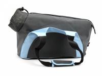 Praktická taška na psa přes rameno vhodná pro štěňata, jorkšíry, čivavy a další malá plemena psů. Nosnost 6 kg, barva šedo-modrá.