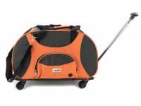 Prostorná transportní taška na psy CAMON s odnímatelnými kolečky a výsuvným madlem. Nosnost 13 kg, lze nosit samostatně, rozměry 53 × 31 × 31 cm.