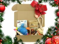 Vánoční box pro psy s vybranými pamlsky a hned dvěma hračkami dle vlastního výběru. Kompletně připravený vánoční dárek – včetně sváteční mašle.