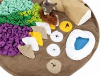 Čmuchací kobereček je skvělá interaktivní hra pro psy každého věku či velikosti. Nejlepší pamlsek je přeci ten, který si sami najdou! Kobereček kombinuje materiály a tvary úkrytů pro maximální zapojení psích smyslů. Průměr koberečku 70 cm. (6)
