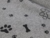 Praktická nepromokavá podložka pro psy PAWS s originálním vzorem. Voděodolný materiál, snadná údržba, výplň polyuretanová pěna. Barva šedá. (5)