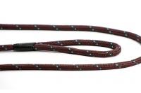 Provazové vodítko pro psy ROSEWOOD Rope Twist z pevného nylonu. Vodítko má kruhový průřez a je opatřené pevnou pochromovanou karabinou. Délka 1,55 m, barva tm. hnědá (3).