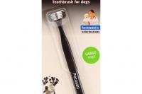 Dvouhlavý zubní kartáček pro velké psy od 16 kg. Hlava kartáčku byla speciálně vyvinuta pro velmi účinné čištění vnějších i vnitřních ploch zubů zároveň (2).
