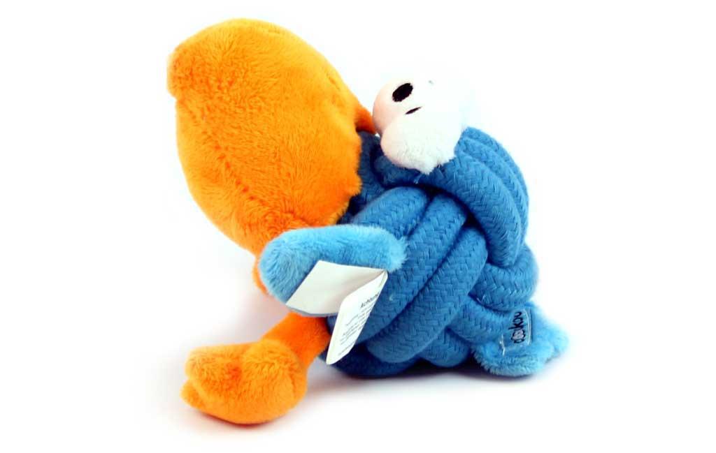 Plyšová aportovací hračka pro psy, modro-oranžová
