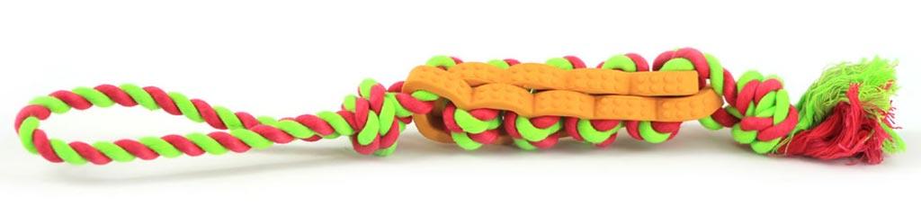 Jednoduchá dentální hračka pro psy vyrobená z kombinace provazových a gumových materiálů