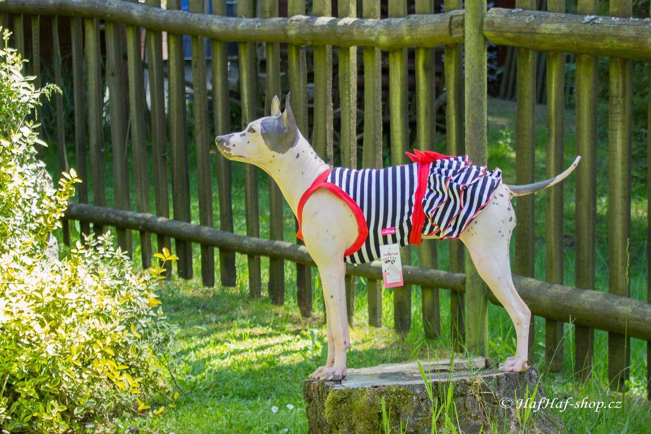 Obleček pro fenky – stylové šaty od For My Dogs. Materiál bavlna/elastan, modrobílý pruhovaný vzor, červená mašle na zádech