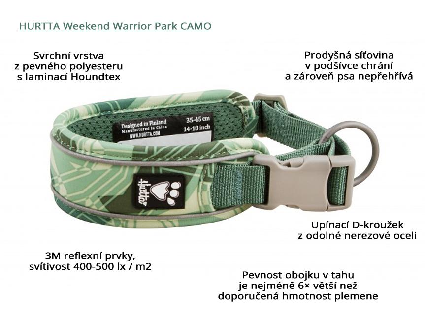 Obojek pro psy Hurtta Weekend Warrior CAMO zelený, infografika