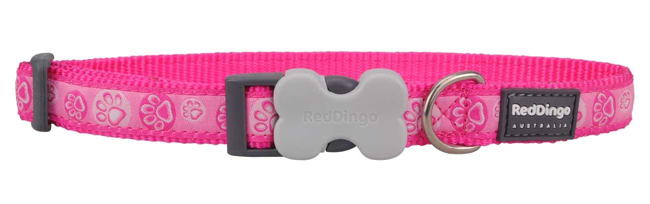 Obojek pro psa RED DINGO – Paw Impressions Hot Pink