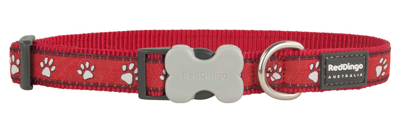 Obojek pro psa RED DINGO – Paw Prints Red