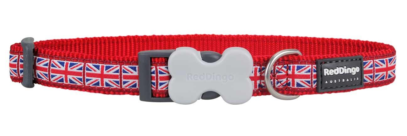 Obojek pro psa RED DINGO – Union Jack Flag on Red