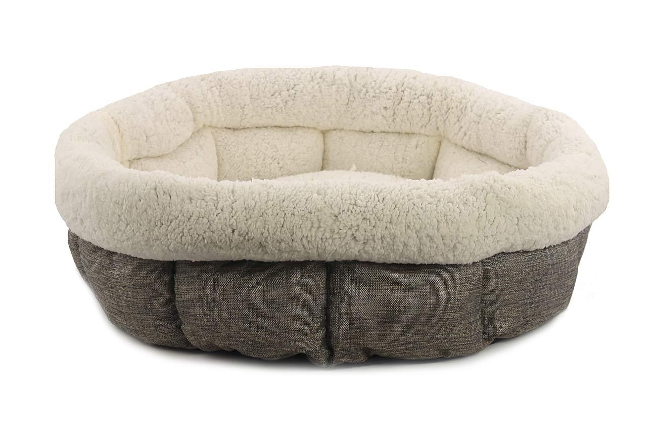 Extra měkoučký a pohodlný oválný pelíšek pro psy od ROSEWOOD. Materiál tvíd s huňatým kožíškem, možnost praní v pračce.