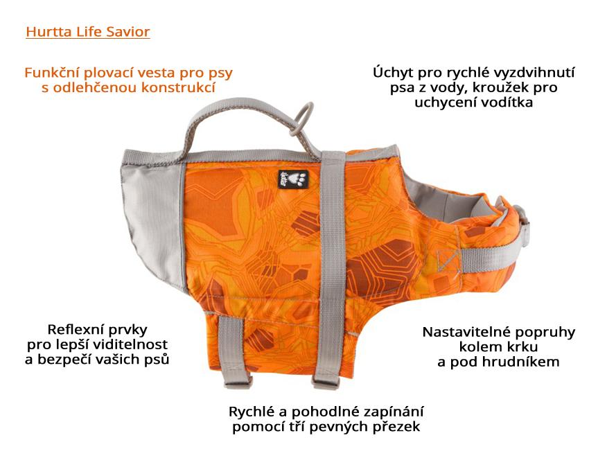 Plovací vesta pro psy Hurtta Life Savior, oranžová – infografika