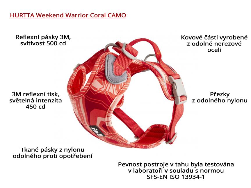 Postroj pro psy HURTTA Weekend Warrior Coral CAMO (infografika)