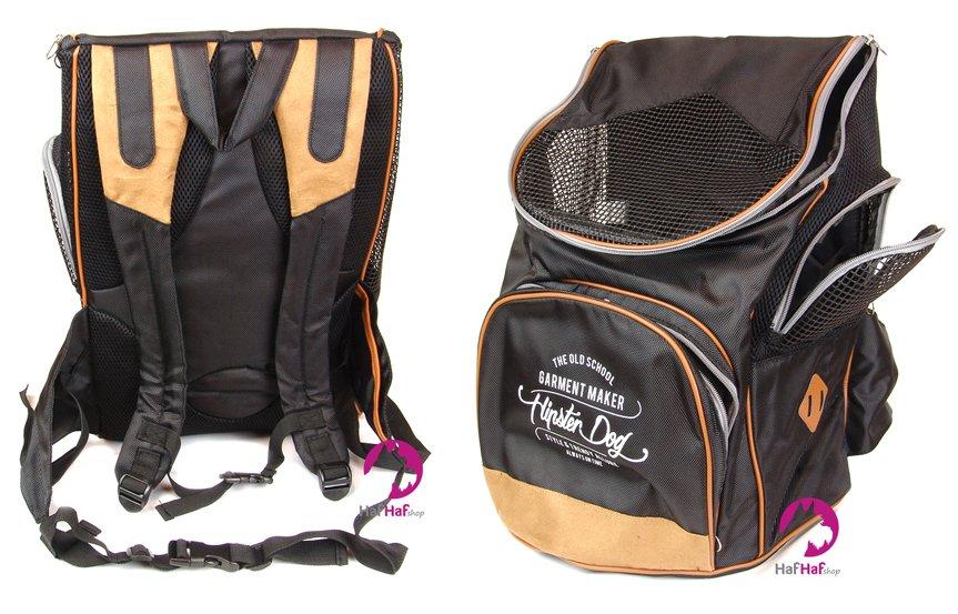 Luxusní černý batoh na psa BOBBY SAC PAC, pohledy zepředu a zezadu