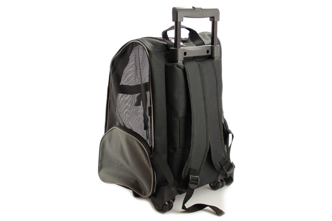 Černá taška pro psy na kolečkách + batoh