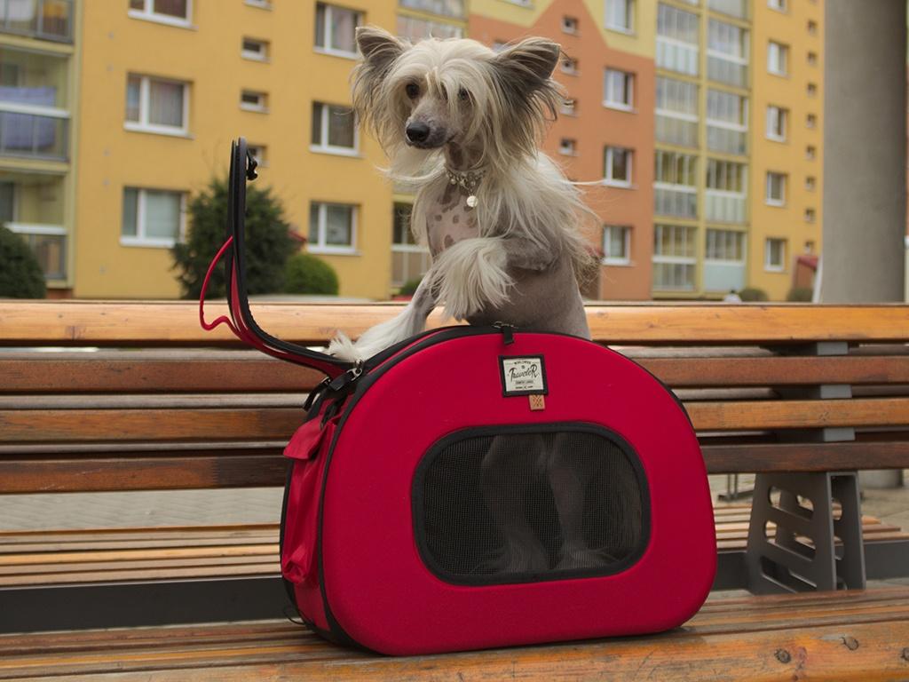 Taška pro psy na kolečkách – červená