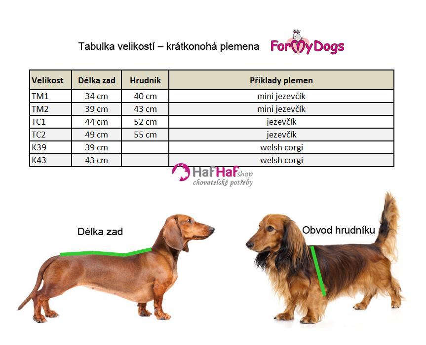 Oblečky pro psy krátkonohá plemena, tabulka velikostí