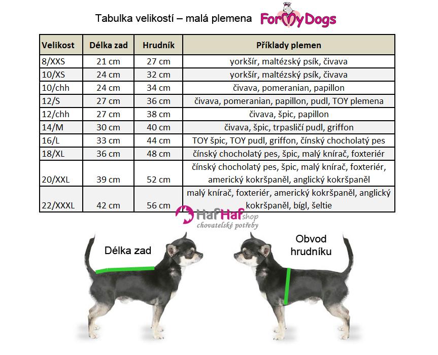 Oblečky pro psy malá plemena, tabulka velikostí