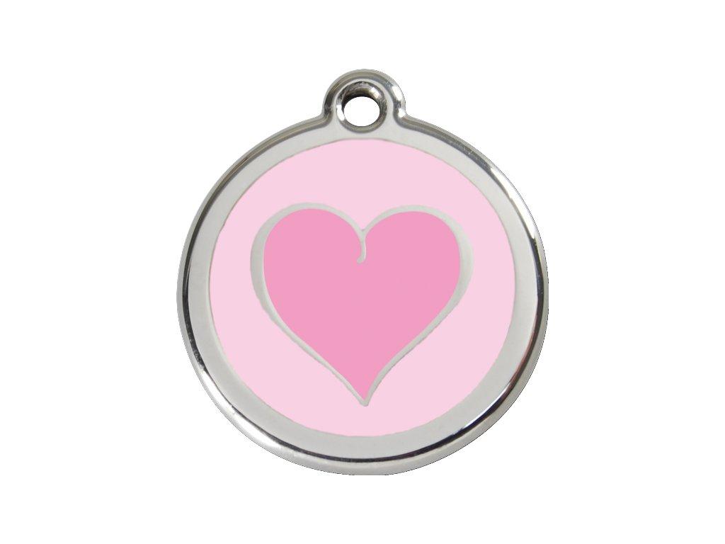 Malá známka pro psy, růžová, srdce