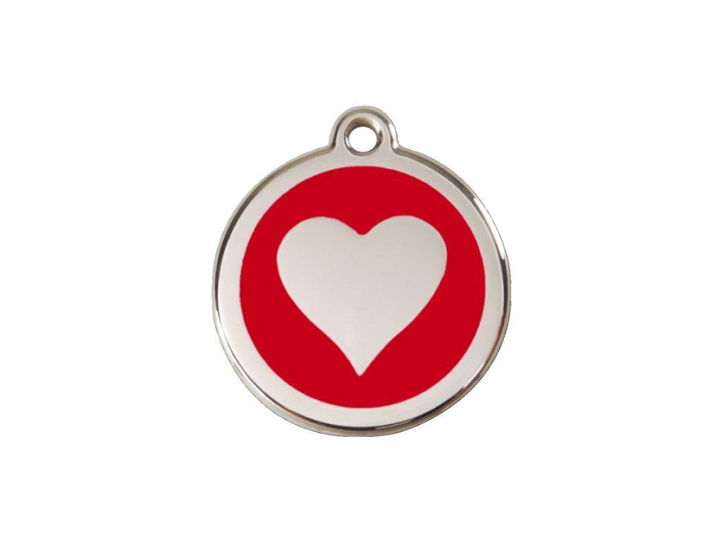 Malá známka pro psy, červená, srdce