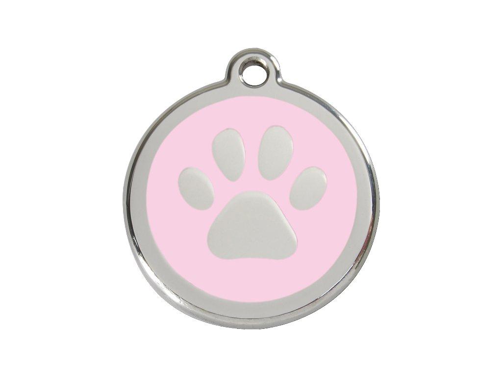 Malá známka pro psy, růžová, tlapka
